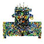 """""""Transformer Man"""", Esmalte, pregos, lâmpada sobre madeira, 52x50cm [INDISPONÍVEL / UNAVAILABLE]"""
