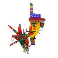 """Máscara Duas Caras"", 2016, Acrílico sobre madeira e metal, 40x55x11cm [INDISPONÍVEL / UNAVAILABLE]"