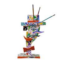 """""""Homem com Laço e Pincéis"""", 2010, Óleo sobre madeira, 45x58x8cm [INDISPONÍVEL / UNAVAILABLE]"""