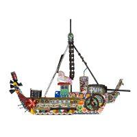 """""""Barco Pum"""", 2016, Pintura e colagem de diversos materiais sobre madeira, 54x44x9cm [INDISPONÍVEL / UNAVAILABLE]"""