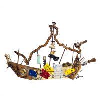 """""""Barco Louco"""", 2016, Pintura e colagem de diversos materiais sobre madeira, 63x42x9cm [INDISPONÍVEL / UNAVAILABLE]"""