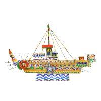 """""""Barco com Estrelas"""", 2016, Pintura e colagem de diversos materiais sobre madeira, 34x24x6cm [INDISPONÍVEL / UNAVAILABLE]"""