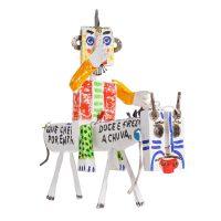 """Cavaleiro Pintado"", 2016, madeira pintada, pregos, corda, metal, 50x48x14cm [INDISPONÍVEL / UNAVAILABLE]"