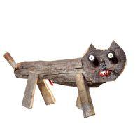 """Gato"", 2016, madeira, metal, plástico, 58x31x14cm [INDISPONÍVEL / UNAVAILABLE]"