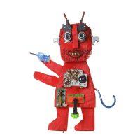 """""""Diabo com Rabo e Pistola Azul"""", 2016, madeira pintada, metal, objectos encontrados, 30x44x10cm [INDISPONÍVEL/UNAVAILABLE]"""