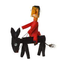 """Cavaleiro de Burro"", 2016, madeira pintada, metal, corda, 14x58x54cm [INDISPONÍVEL / UNAVAILABLE]"