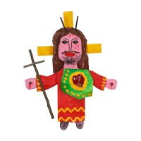 """Cristo Maria Barraca"", 2016, madeira pintada, metal, 32x51x6cm [INDISPONÍVEL / UNAVAILABLE]"