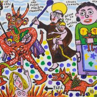 """""""Não Fujas Maldito Canhoto"""", 2016, acrílico sobre tela, 70x60cm [COLECÇÃO CRUZES CANHOTO]"""