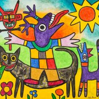 """Gato a Comer a Sardanita"", 2016, Acrílico sobre tela, 80x70cm [INDISPONÍVEL / UNAVAILABLE]"