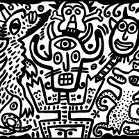 """Idalécio, """"Festa do Inferno"""", 2016, Esmalte sobre aglomerado de madeira, 100x80 cm [INDISPONÍVEL / UNAVAILABLE]"""