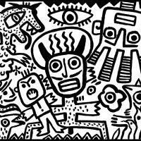 """""""Olho dos Diabos"""", 2016, esmalte sobre aglomerado de madeira, 100x80cm [COLECÇÃO CRUZES CANHOTO]"""