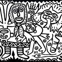 """""""O Inferno da Mãe"""", 2016, Esmalte sobre aglomerado de madeira, 100x80 cm [INDISPONÍVEL / UNAVAILABLE]"""