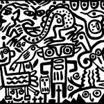 """""""Dragão sem braços a beijar donzela"""", 2016, Esmalte sobre aglomerado de madeira, 100x80cm [INDISPONÍVEL / UNAVAILABLE]"""