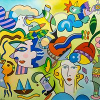 """Pássaro-avião sobre Figuras Surrealistas"", 2013, óleo sobre tela, 100x80cm [INDISPONÍVEL / UNAVAILABLE]"