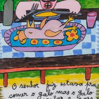 """Lenda do Galo de Barcelos II"", 2016, óleo sobre papel, 29x42cm [INDISPONÍVEL / UNAVAILABLE]"