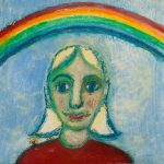 """""""A Menina e o Arco-Íris"""", Óleo sobre tela, 53x53 cm"""