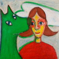 """A Menina, o Lobo e a Nuvem"", óleo sobre tela, 53x53cm [INDISPONÍVEL / UNAVAILABLE]"