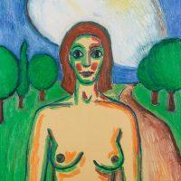 """""""A Menina Esperando o Lobo ou A Nuvem em Forma de Coração"""", óleo sobre tela, 73x92cm [INDISPONÍVEL / UNAVAILABLE]"""