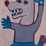"""O Lobo a correr"", Acrílico sobre papel, 41x58 cm"