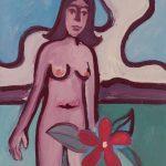 """""""A Menina e a Flor"""", Acrílico sobre papel, 41x59 cm"""