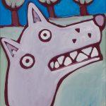 """O Lobo na Floresta"", Acrílico sobre papel, 41x58 cm"