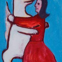 """""""Dançando com o Lobo ou a Dança"""", acrílico sobre cartolina, 31x47cm [INDISPONÍVEL / UNAVAILABLE]"""
