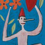 """""""Pinóquio com a Mão em forma de Coração"""", Acrílico sobre cartolina, 29x39 cm"""