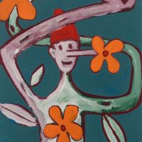 """Pinóquio, Mãos de Flor I"", acrílico sobre cartolina, 29x39cm [INDISPONÍVEL / UNAVAILABLE]"
