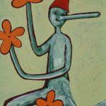 """""""Pinóquio, Mãos de Flor V"""", Acrílico sobre cartolina, 29x39 cm"""