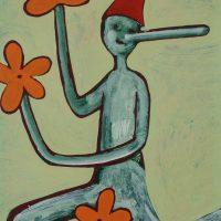 """Pinóquio, Mãos de Flor V"", acrílico sobre cartolina, 29x39cm [INDISPONÍVEL / UNAVAILABLE]"
