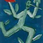 """""""Pinóquio, Mãos de Flor e Coração I"""", Acrílico sobre cartolina, 29x39 cm"""