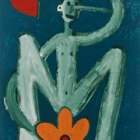 """""""Pinóquio, Mãos de Flor e Coração II"""", acrílico sobre cartolina, 29x39cm [INDISPONÍVEL / UNAVAILABLE]"""