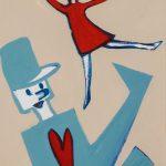 """""""A Bailarina e o Soldadinho"""", Acrílico sobre cartolina, 24x33 cm [INDISPONÍVEL / UNAVAILABLE]"""