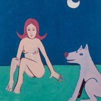 """A Menina, o Lobo e a Lua"", acrílico sobre papel, 23x31cm [INDISPONÍVEL / UNAVAILABLE]"