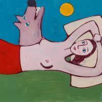 """""""A Menina, o Lobo e a Nuvem"""", acrílico sobre cartolina, 47x31cm [INDISPONÍVEL / UNAVAILABLE]"""