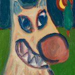"""""""O Lobo e a Lua"""", Óleo sobre tela, 24x30 cm"""