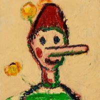 """Pinóquio e a Flor"", óleo sobre tela, 14x18cm [INDISPONÍVEL / UNAVAILABLE]"