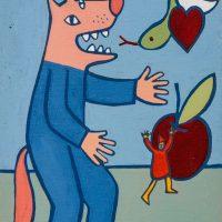 """O Lobo e a Serpente"", acrílico sobre tela, 16x22cm [INDISPONÍVEL / UNAVAILABLE]"