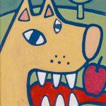 """""""O Lobo e a Maçã"""", Acrílico sobre tela, 10x15 cm [INDISPONÍVEL / UNAVAILABLE]"""