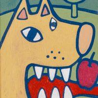 """""""O Lobo e a Maçã"""", acrílico sobre tela, 10x15cm [INDISPONÍVEL / UNAVAILABLE]"""