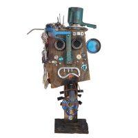 """""""O Mecânico do Ferro Velho"""""""", 2016, madeira, tintas, metal, plástico, tecidos, 75x44x22 cm [INDISPONÍVEL / UNAVAILABLE]"""