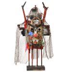 """""""Diaba com Filho na Cabeça"""", 2016, Madeira, troncos, rede, correntes, metal, objectos encontrados, 39x84x12 cm [INDISPONÍVEL / UNAVAILABLE]"""