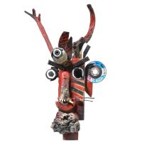 """Diabo dos Três Olhos"", 2016, madeira, tintas, metal, plástico, 29x65x23 cm [INDISPONÍVEL / UNAVAILABLE]"