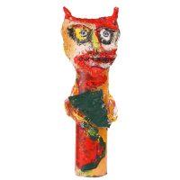 "Carla Gonçalves, ""Diaba com Leque"", 2017, Plástico, pasta de papel, tintas, 11x23x11cm"