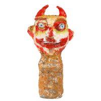 """Carla Gonçalves, """"Diabo com Cara Vermelha e Olhos Azuis"""", 2017, Plástico, pasta de papel, tintas, 10x31x9cm [INDISPONÍVEL / UNAVAILABLE]"""