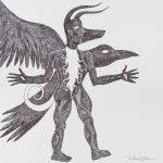 """Pedro Nogueira, """"Aventuras metafísicas de um diabo apaixonado 1"""", 2017, Artpen sobre papel, 42x42cm"""