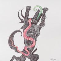 """Pedro Nogueira, """"Aventuras metafísicas de um diabo apaixonado 4"""", 2017, Artpen sobre papel, 42x42cm"""
