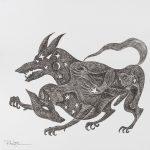 """Pedro Nogueira, """"Aventuras metafísicas de um diabo apaixonado 5"""", 2017, Artpen sobre papel, 42x42 cm"""