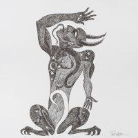"""Pedro Nogueira, """"Aventuras metafísicas de um diabo apaixonado 6"""", 2017, Artpen sobre papel, 42x42cm"""