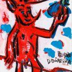 """Pedro d'Oliveira, """"Diabo com Maçã e Tridente 2"""", 2016, Acrílico sobre tela, 10x15 cm"""